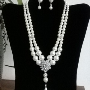Double Pearl and Diamond Necklace Set - $24.00 in Accessories.