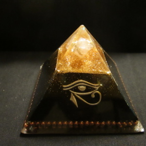 8. BLACK AND GOLD EYE OF HORUS AUDRANITE PYRAMID